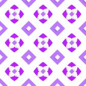 White geometrical ornament with purple squares — Stock Vector