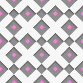 White geometrical ornament with white net and pink squares on gr — Stock Vector