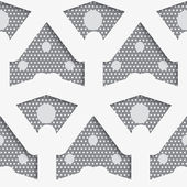 White shapes with big and small dots on gray pattern — Stockvector