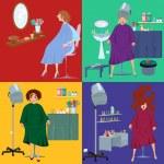 Постер, плакат: Beauty salon spa customers in robes flat people