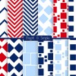 Bright and simple red dark and light blue squares pattern set — Stock Vector #65840999