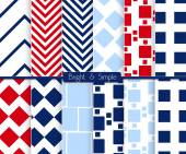 Bright and simple red dark and light blue squares pattern set — Stock Vector