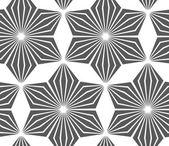 Monochrome striped six pedal rhombus flowers — Wektor stockowy