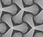 Slim gray striped trefoil flower with black bevel — Stock Vector