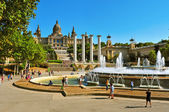 Magic Fountain and Palau Nacional in Montjuic in Barcelona, Spai — Stock Photo