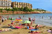 Capellans beach in Salou, Spain — Stok fotoğraf