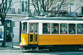 Typical yellow tram in Chiado district in Lisbon, Portugal — Stock Photo