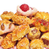 Panellets, typical pastries of Catalonia, Spain, eaten in All Sa — Stock Photo