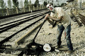 A zombie at the railroad tracks — Foto de Stock