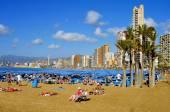 Levante Beach, in Benidorm, Spain — Stock Photo