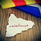 Catalunya, catalonia written in catalan in a piece of paper in t — Стоковое фото