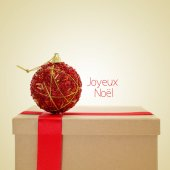Joyeux noel, merry christmas in french, with a retro effect — Stockfoto