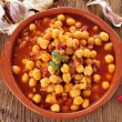 Potaje de garbanzos con jamon, spanish chickpeas stew with ham — Stock Photo #57404295