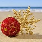 Christmas ball and star on the beach — Stock Photo #58018963