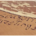 Seasons greetings on the beach, with a retro effect — Φωτογραφία Αρχείου #58019087