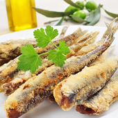Spanish boquerones fritos, battered and fried anchovies typical  — Stock Photo