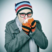 Man with a cold — Stock Photo
