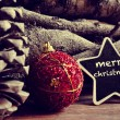 Text merry christmas in a star-shaped blackboard — Stock Photo #58800891