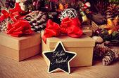 Feliz natal, merry christmas in portuguese — Stock Photo