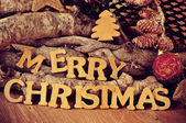 Wooden letters forming the sentence merry christmas — Stock Photo