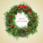 Text merry christmas and natural christmas wreath, with a retro  — Stock fotografie