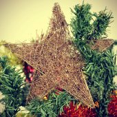 Star on a christmas tree, with a filter effect — Stock Photo