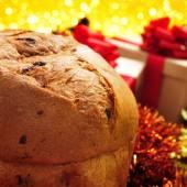 Panettone on a christmas table — Stock Photo