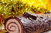 Yule log cake, traditional of christmas time — Stock Photo