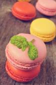 Macarons with different colors and flavors — Stock Photo