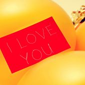 Text I love you in a signboard, with a filter effect — Stock Photo