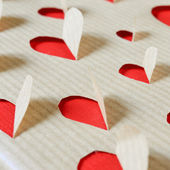 Hearts on a kraft paper — Stock Photo