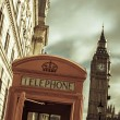 Telephone booth and the Big Ben in London, United Kingdom — Stock Photo #62912965