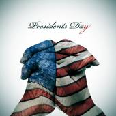 Text Presidents Day and man hands patterned with USA flag — Stockfoto