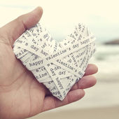 Cuore con il giorno di San Valentino felice testo — Foto Stock