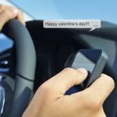 Happy valentines day in a text message — 图库照片