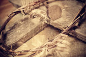 Double exposure of the Passion of the Christ — Zdjęcie stockowe