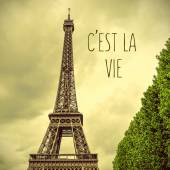 Eiffel Tower and text cest la vie, that is life — Stock Photo