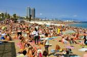 La Barceloneta Beach, in Barcelona, Spain — Stock Photo