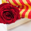 Book, red rose and the catalan flag for Sant Jordi, Saint George — Stock Photo #69125833