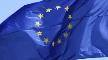 Flag Of The European Union Waving On The Wind — Stock Video