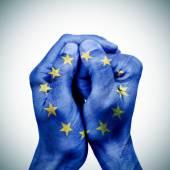 あなたの手で欧州連合 — ストック写真