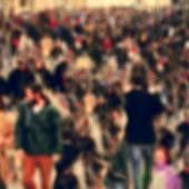 Defocused blur background of people walking — Stock Photo