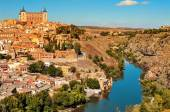 Panoramic view of Toledo, Spain, and the Tagus river — Stock Photo