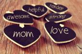 Concepts referring to a good mom, such as love, helpful or tende — Stock Photo