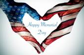 Hands forming a heart patterned and text happy memorial day — Stock Photo