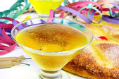 Champagne, streamers, firecrackers and coca de Sant Joan, typica — Stock Photo
