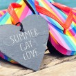 Rainbow flip-flops and sentence summer gay love — Stock Photo #76034835