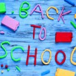 Back to school written with modelling clay of different colors — Stock Photo #78161426