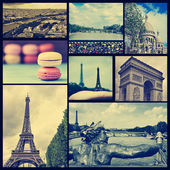 Collage of different landmarks in Paris, France, cross processed — Stock Photo