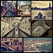 Collage of different locations in Venice, Italy, cross processed — Stock Photo